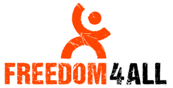 FREEDOM4ALL logo zwart oranje op wit