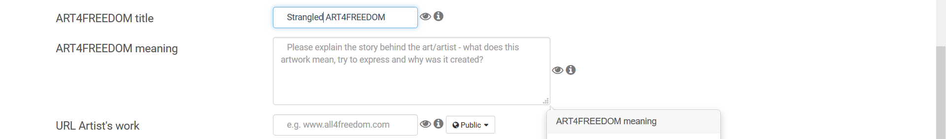 Screenshot fields ART4FREEDOM title meaning URL category copy copy