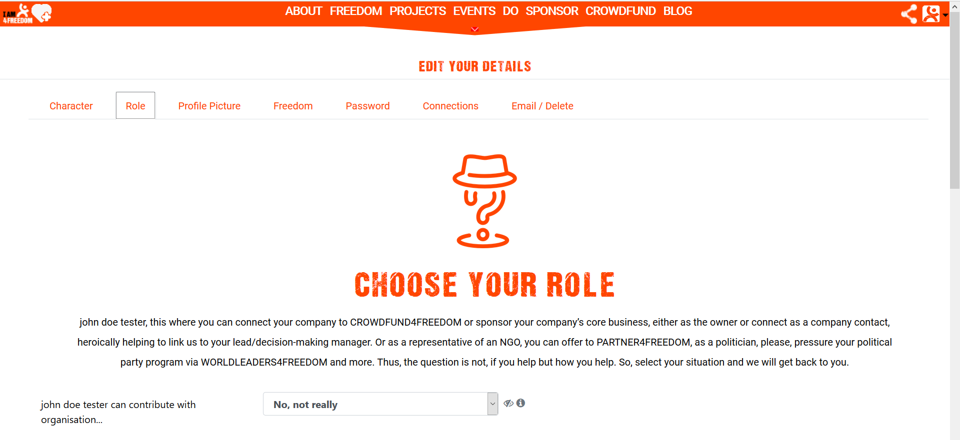 Screenshot sponsor4freedom role tab